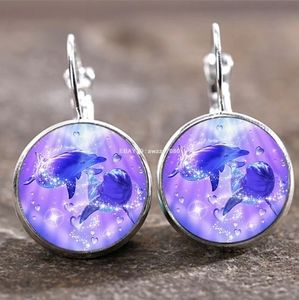 New Dolphins Glass Cabochon Silver Earrings
